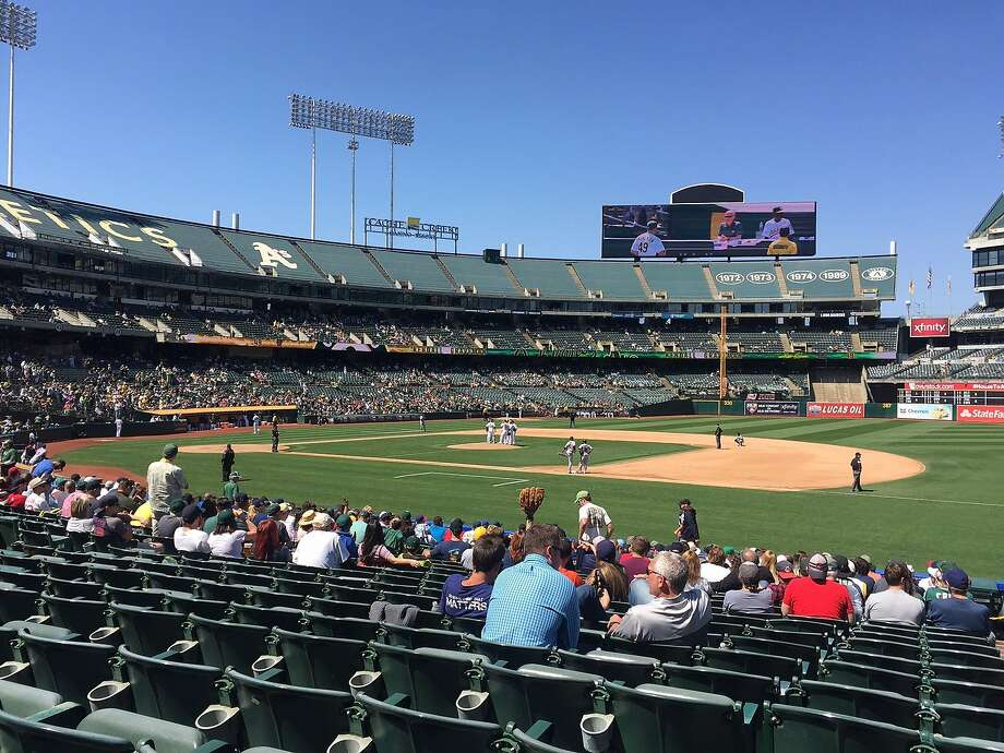 A sparse crowd enjoys an afternoon Oakland A's game at The Coliseum in August of 2016. Under the new MLB labor deal, Oakland's revenue-sharing funds will be cut to 75 percent next year, 50 percent in 2018, 25 percent in 2019 and then phased out. Photo: Al Saracevic/San Francisco Chronicle