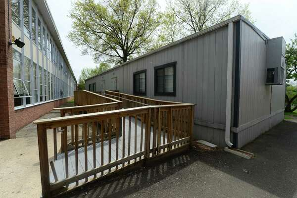 Portable classrooms at West Rocks Middle School in Norwalk. A Norwalk Public Schools facilities utilization study showed the school district is 750 seats short with 400 kids already stationed in 15 portable trailers that are nearing the end of their designed lifespan..