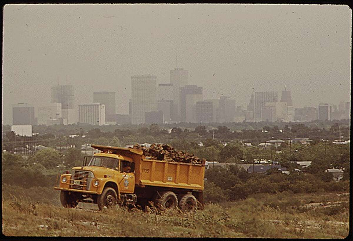 View of downtown Houston from the Holmes Road dump in 1972.