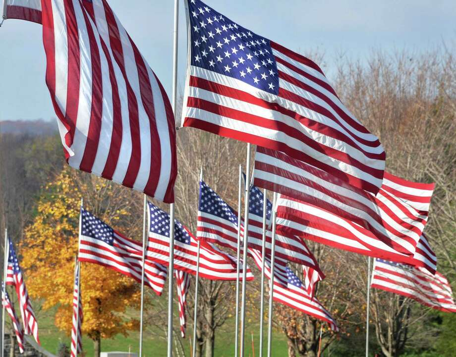 American flags line the entrance during the Gerald B. H. Solomon Saratoga National Cemetery Veterans Day Ceremony Tuesday Nov. 11, 2014, in Schuylerville, NY.  (John Carl D'Annibale / Times Union) Photo: John Carl D'Annibale / 00029204A
