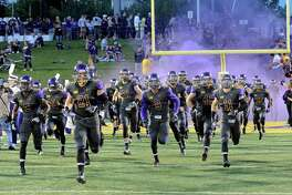 UAlbanyOs plyers take the field against Holy Cross during the first half of an NCAA college football home opener game in Albany, N.Y., Saturday, Sept. 17, 2016. (Hans Pennink / Special to the Times Union) ORG XMIT: HP112