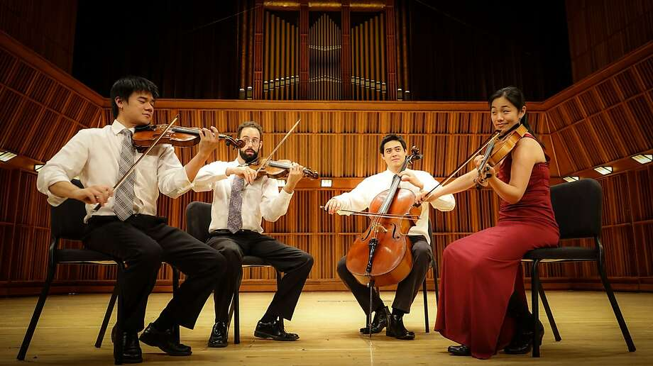 Violinists Eric Chin (left) and Joseph Maile, cellist Jeremiah Shaw and violist Pei-Ling Lin make up the Telegraph Quartet, which won the Naumburg Prize. Photo: Telegraph Quartet