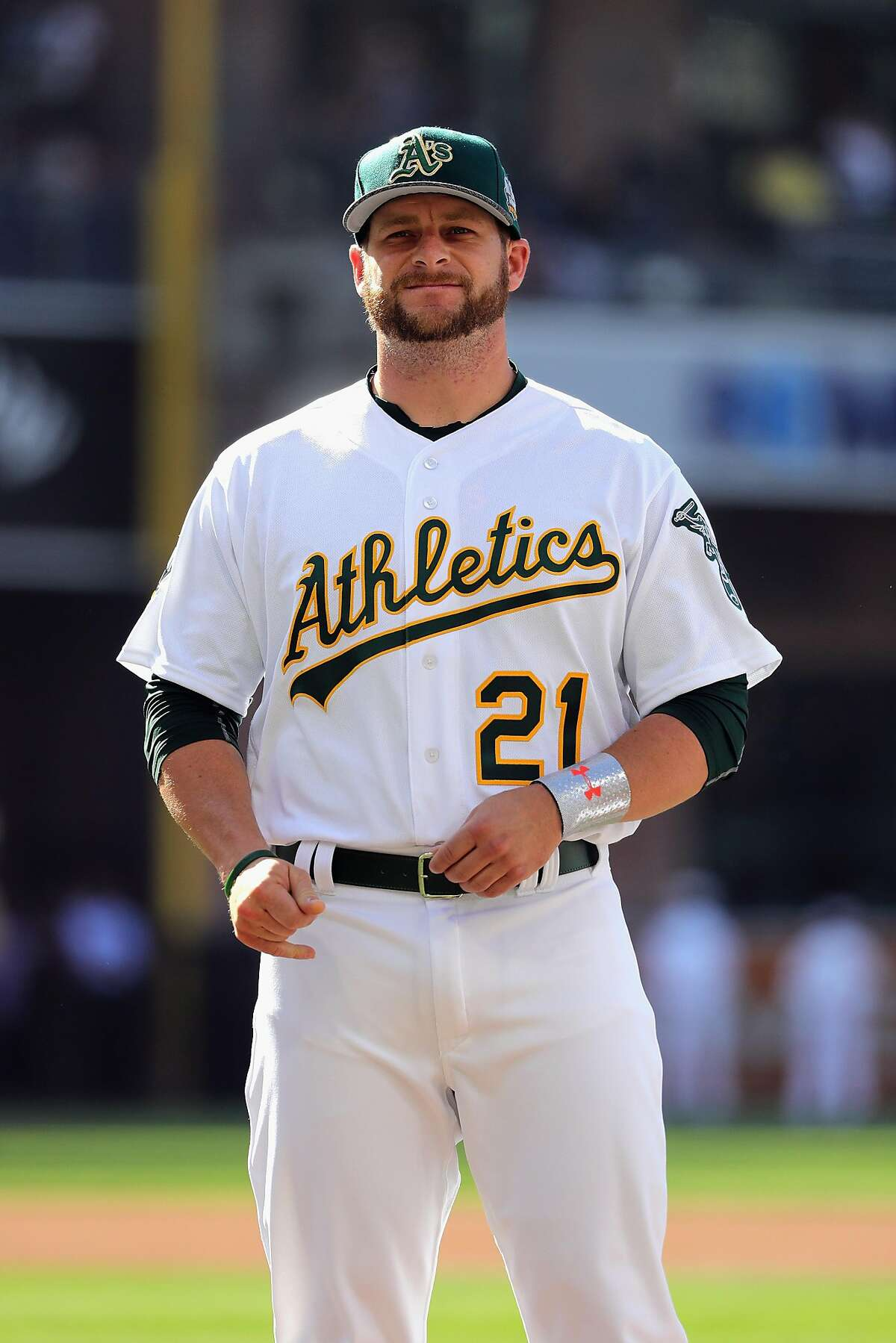 SAN DIEGO, CA - JULY 12: Stephen Vogt #21 of the Oakland Athletics looks on prior to the 87th Annual MLB All-Star Game at PETCO Park on July 12, 2016 in San Diego, California. (Photo by Harry How/Getty Images)