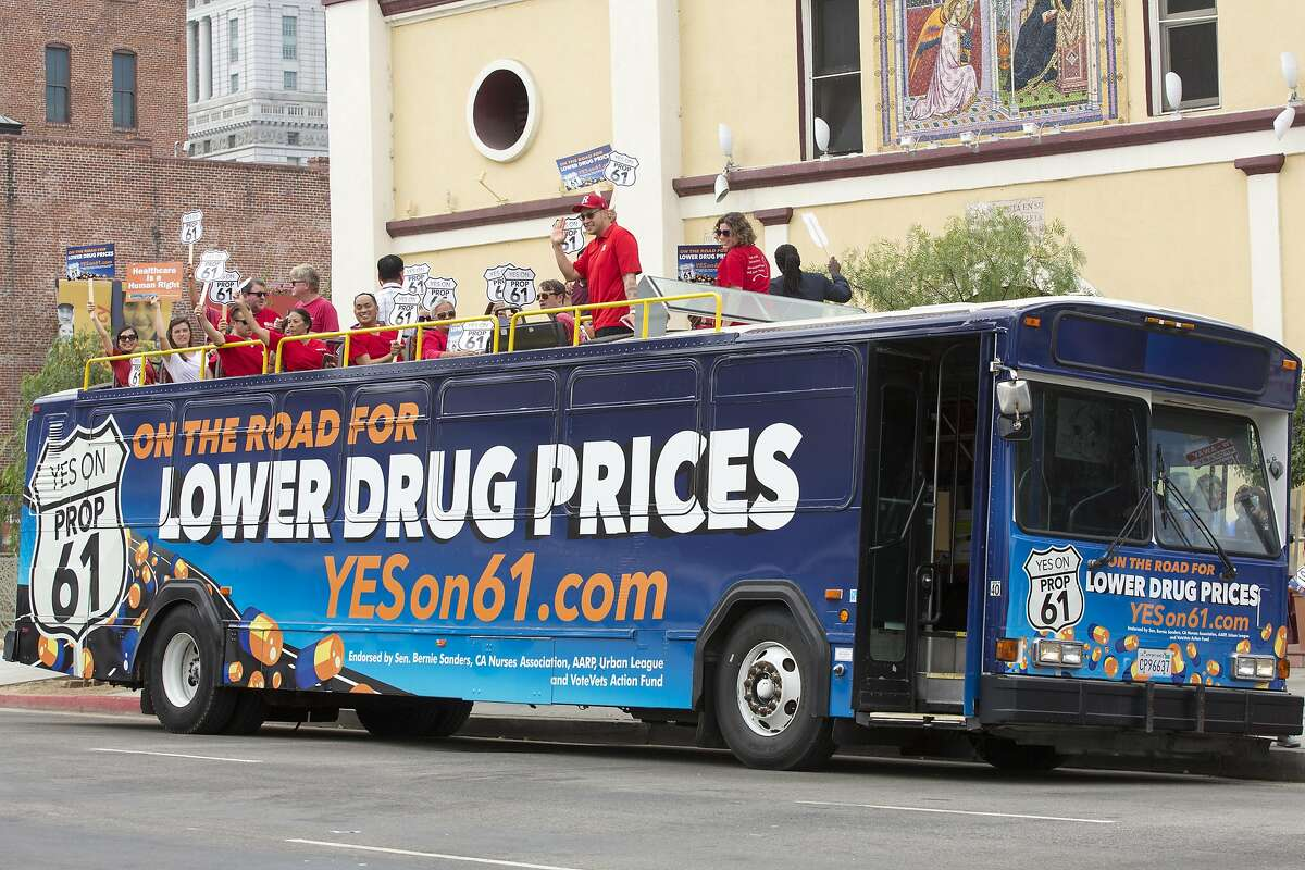 IMAGE DISTRIBUTED FOR AIDS HEALTHCARE FOUNDATION - Supporters of Proposition 61, the California Drug Price Relief Act, gathered atop a double-decker bus at La Placita Olvera, the heart of Los Angeles, to launch the �On the Road for Lower Drug Prices,� YES ON 61 Tour across California, on Monday, Sept. 19, 2016. Coalition members, community leaders and supporters laid out how Proposition 61 will lower drug prices. (Gilles Mingasson/AP Images for AIDS Healthcare Foundation)