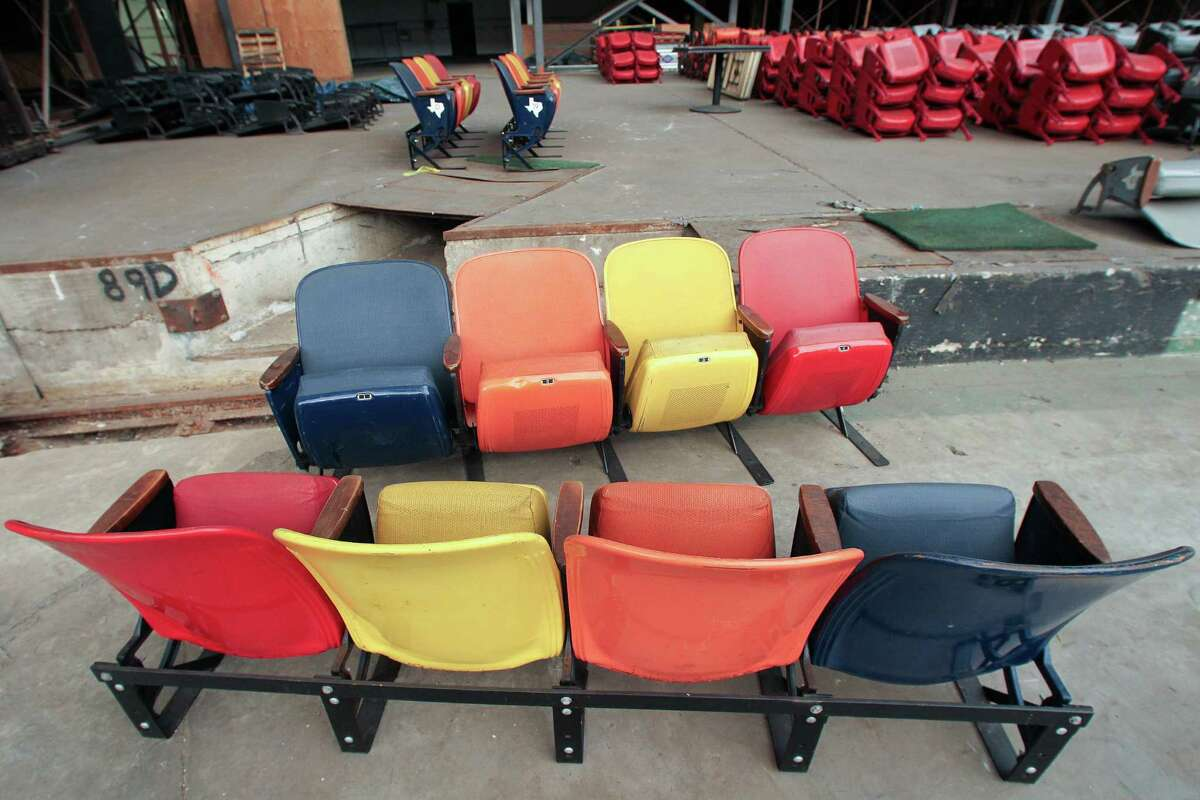 The Dome has become a glorified junk yard with items such as this section of seats from the stadium.