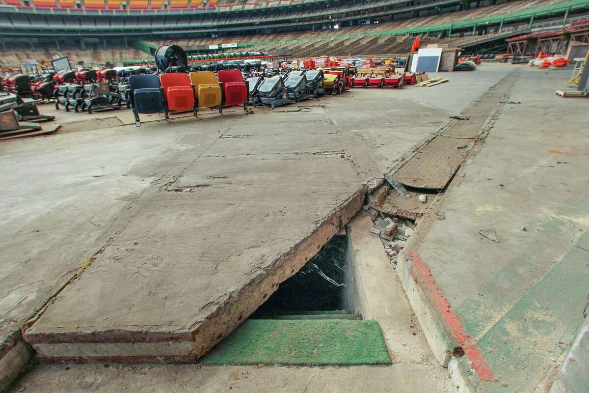 The floor of the Astrodome is one of the many areas of the stadium in disrepair over recent years as the facility has sat unused.