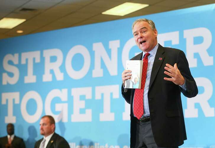 Sen. Tim Kaine discussed the election's stakes during a campaign rally Friday at the Communications Workers of America Local Union 6222.