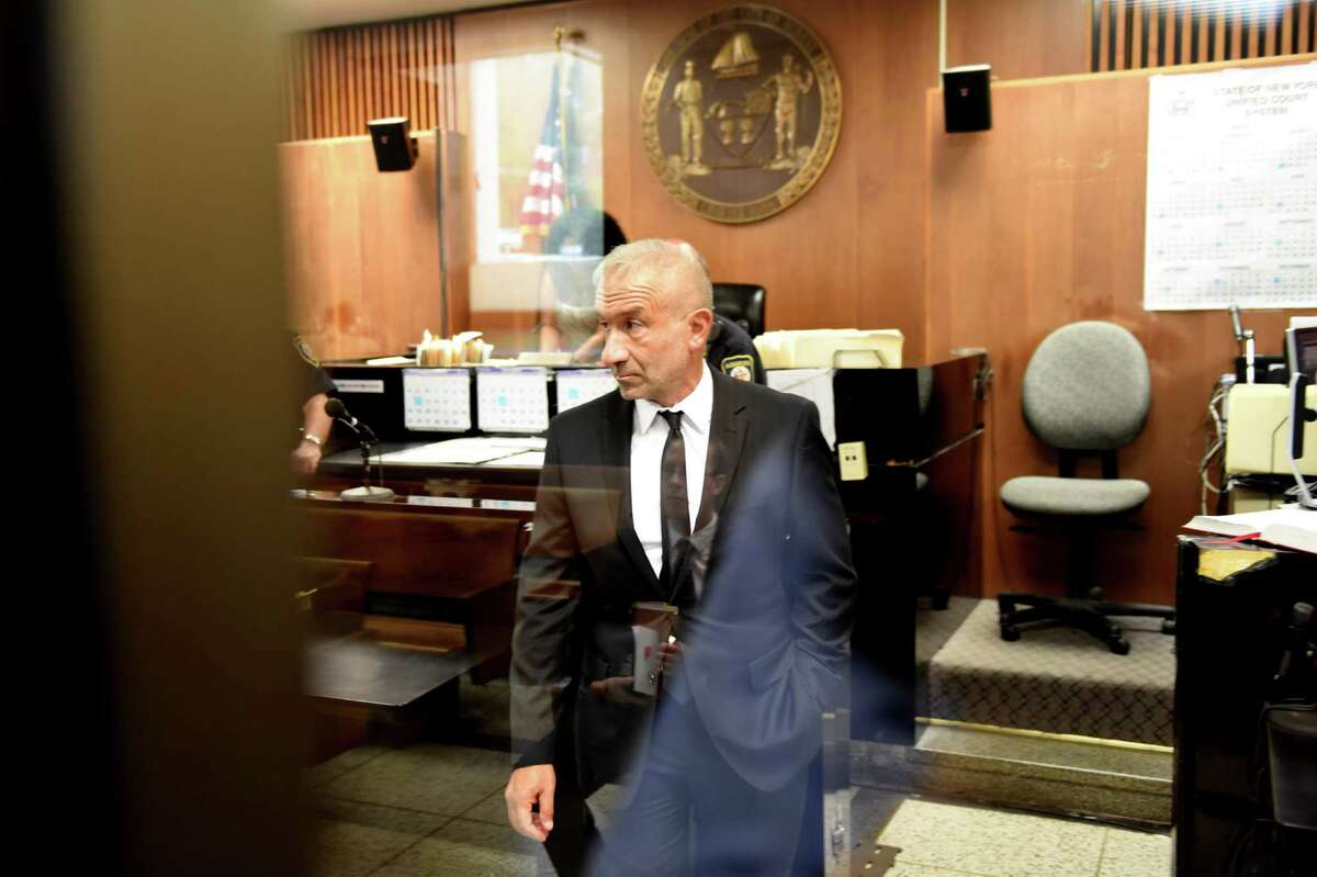 SUNY Polytechnic Institute Founding President and CEO Alain Kaloyeros stands in court following his arraignment on state charges at the Albany City Courthouse on Friday morning, Sept. 23, 2016, in Albany, N.Y. (Will Waldron/Times Union)