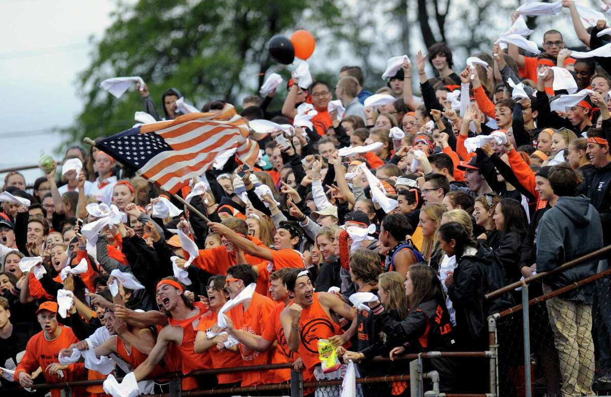 Fans cheer as Columbia plays Bethlehem during their Class AA high school football game in Delmar, N.Y., Friday, Sept. 23, 2016. (Hans Pennink / Special to the Times Union) ORG XMIT: HP101