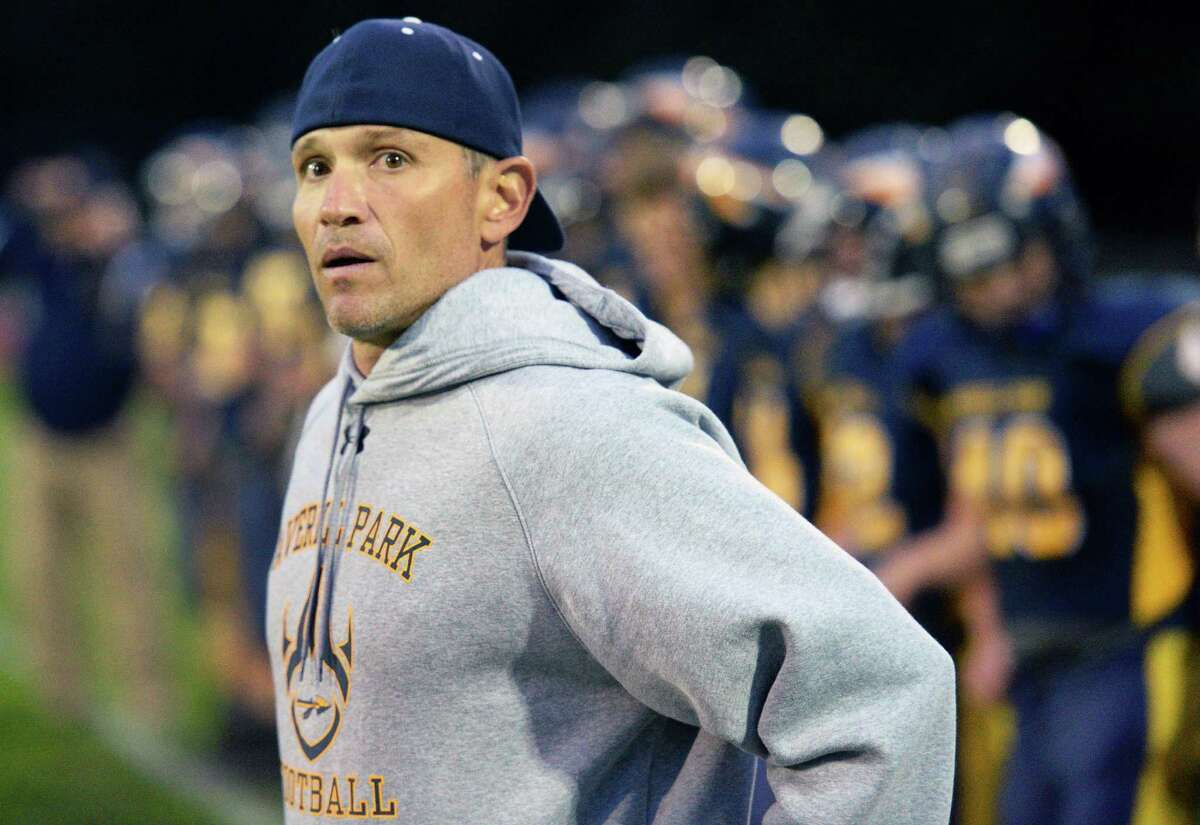 Averill Park head coach Zach Gobel on the sidelines during Friday's game against Burnt Hills Sept. 23, 2016 in Averill Park, NY. (John Carl D'Annibale / Times Union)