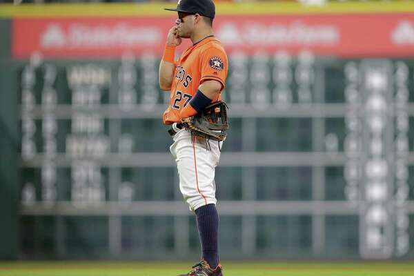 Houston Astros second baseman Jose Altuve (27) bites his fingers as Los Angeles Angels takes the lead in the ninth. Photos of MLB game action between Houston Astros and Los Angles Angels on  Friday, Sept. 23, 2016, at Minuet Maid Park in Houston.