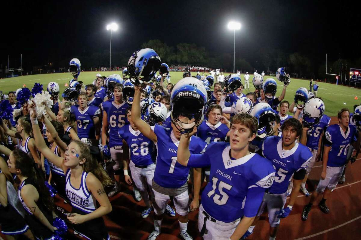 Episcopal Knights Gavin Geib (15) and the team sing the school song after the high school football game between the St. Thomas Eagles and the Episcopal Knights at Simmons Field on the campus of Episcopal High School in Bellaire, TX on Friday, September 23, 2016. The Knights defeated the Eagles 62-12.