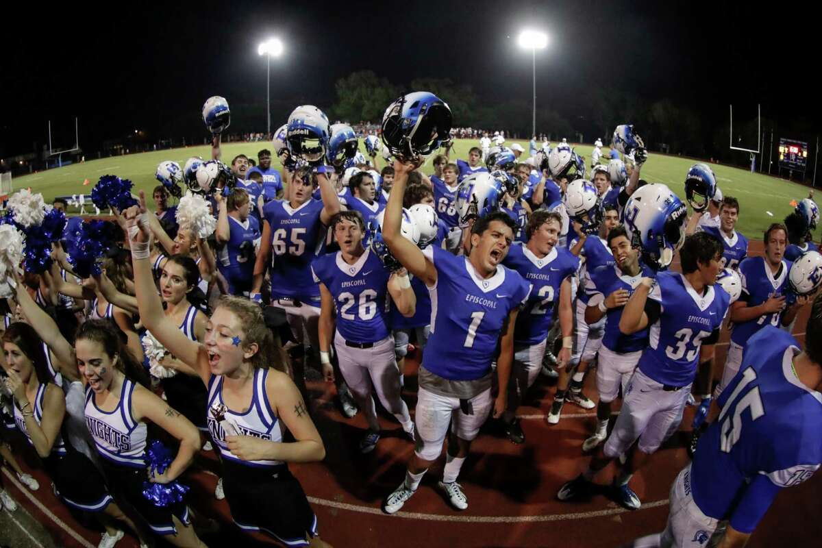 Episcopal Knights Marco Rodriguez (1) and the team celebrate after the high school football game between the St. Thomas Eagles and the Episcopal Knights at Simmons Field on the campus of Episcopal High School in Bellaire, TX on Friday, September 23, 2016. The Knights defeated the Eagles 62-12.