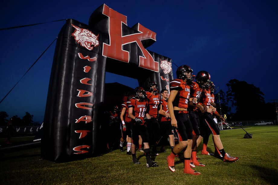 Kirbyville players prepare to run onto the field to take on Kountze at Wildcat Stadium on Friday night.  Photo taken Friday 9/23/16 Ryan Pelham/The Enterprise Photo: Ryan Pelham / ©2016 The Beaumont Enterprise/Ryan Pelham