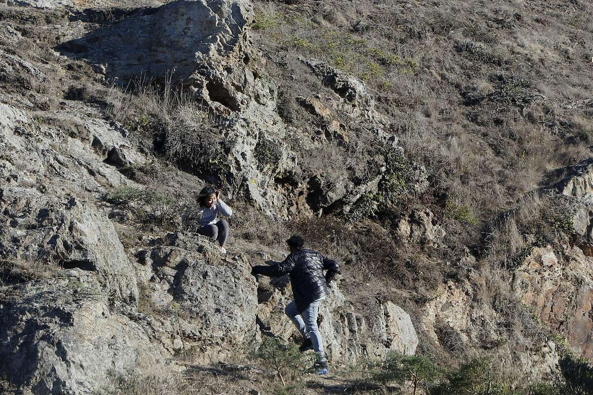 From left: Tanya P. and Kyle R. at a rock formation near 14th Avenue and Ortega Street by Grand View Park in San Francisco, Calif. on Friday, September 23, 2016.