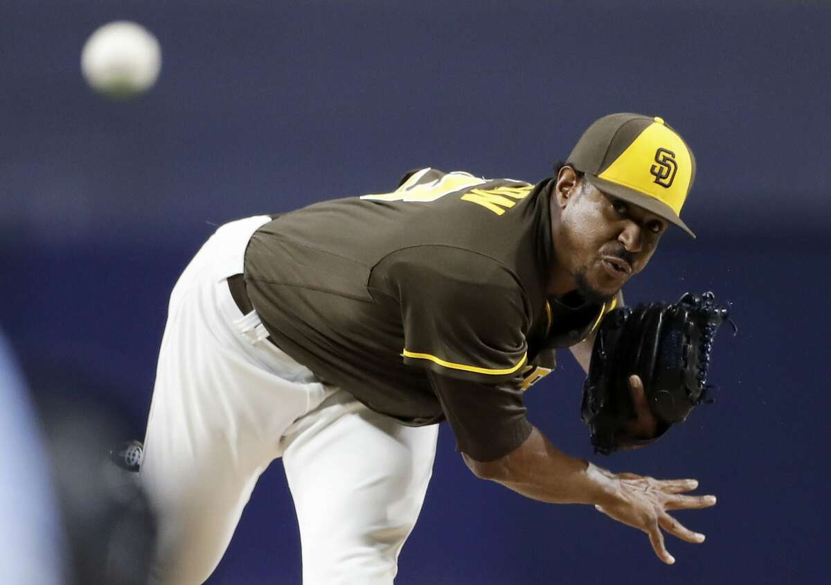 San Diego Padres starting pitcher Edwin Jackson works against a San Francisco Giants batter during the first inning of a baseball game Friday, Sept. 23, 2016, in San Diego. (AP Photo/Gregory Bull)