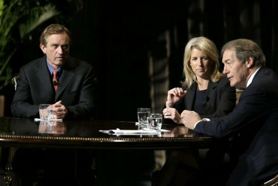 Journalist Charlie Rose, right, makes opening comments as Rory Kennedy, center, and Robert F. Kennedy Jr., left, look on before Rose conducted an interview in front of a full audience at the AT&T Performing Arts Center Friday in Dallas. Photo: Tony Gutierrez / AP2013