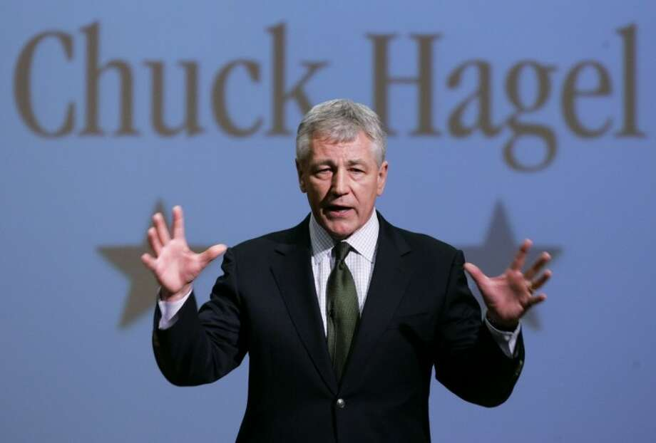 In this Feb. 21, 2007, file photo, then-Sen. Chuck Hagel, R-Neb., speaks during an appearance at Bellevue University, in Bellevue, Neb. President Barack Obama will nominate Hagel as his next defense secretary, a senior administration official said Sunday, Jan. 6, 2013. The selection of the decorated Vietnam combat veteran sets up a potentially contentious confirmation hearing because Hagel has come under scrutiny from his former colleagues over his positions on Israel and Iran. Some Republicans already have declared their public opposition to Hagel replacing Pentagon chief Leon Panetta in Obama's second-term Cabinet. Photo: Nati Harnik