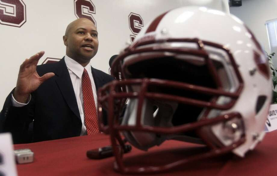 New Stanford football coach David Shaw talks during a news conference Thursday in Stanford, Calif.