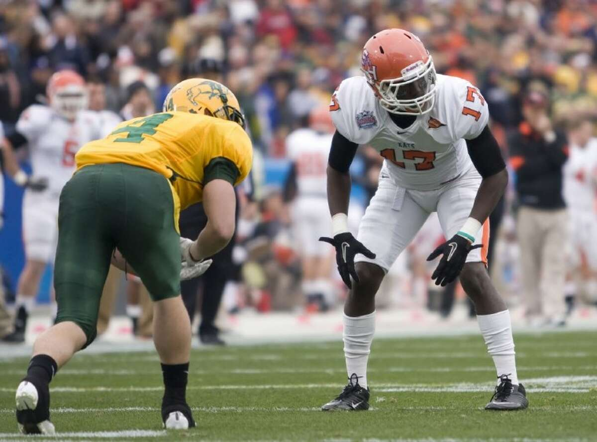 Sam Houston State defensive back and Conroe High Bookie Sneed, right, was named to the Southland Conference pre-season all-conference second team on Tuesday.