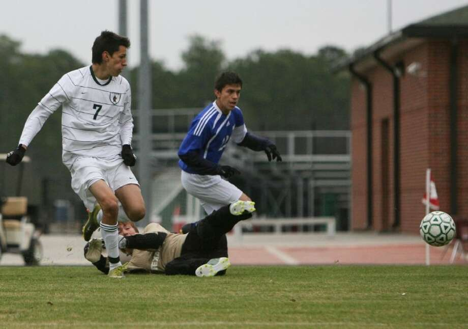 The Woodlands' Santiago Navas scores a goal during last year's Kilt Cup at The Woodlands High School.