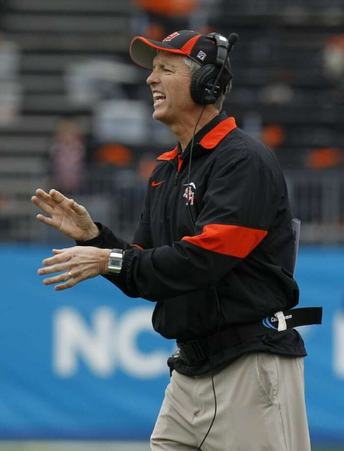 Sam Houston State head coach Willie Fritz yells from the sidelines during the first half of the FCS championship against North Dakota State, Saturday in Frisco. Photo: LM Otero