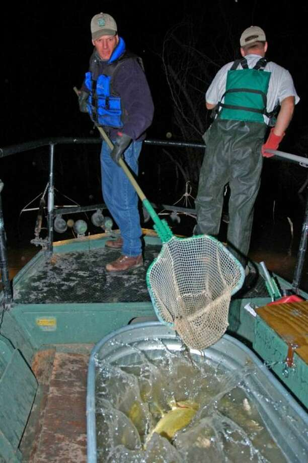 Texas Parks and Wildlife Department biologists gathered fish for a count by species.