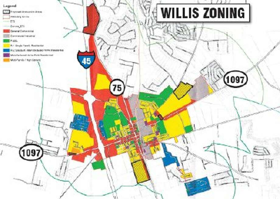A 94-acre tract located near Calvary Road and I-45 was proposed to be zoned commercial. A 91-acre tract located west of Texas 75 south of downtown was proposed to be zoned mostly residential with a small portion along Texas 75 commercial. A 45.5-acre tract located between FM 1097 and Rogers Road east of downtown was proposed to be zoned residential. A 4.5-acre tract located north of FM 1097 east of downtown was proposed to be zoned commercial, while a 2.838-acre tract located north of FM 1097 west of I-45 was proposed to be zoned commercial.