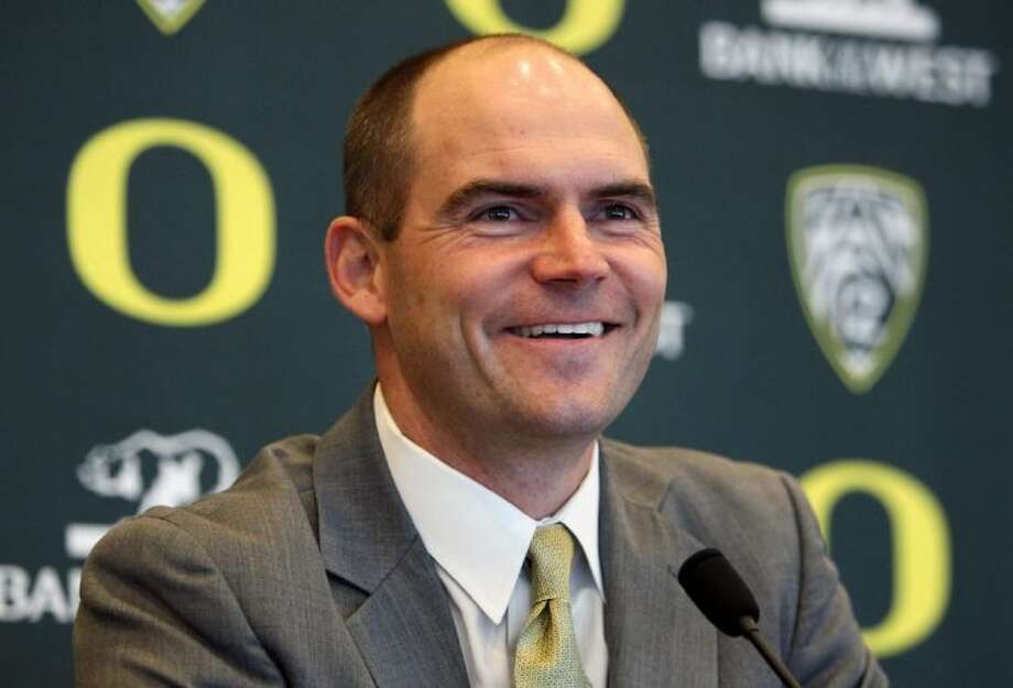 Mark Helfrich is introduced as Oregon's new head coach, replacing Chip Kelly. Photo: Chris Pietsch