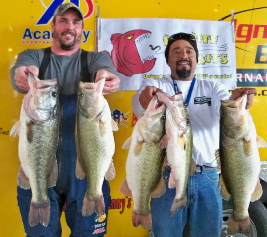 Garrett Pierce and Juan Monroy took first place in the Ignition Bass Super Team tournament at Stow-A-Way Marina with a stringer weight of 27.18 pounds.