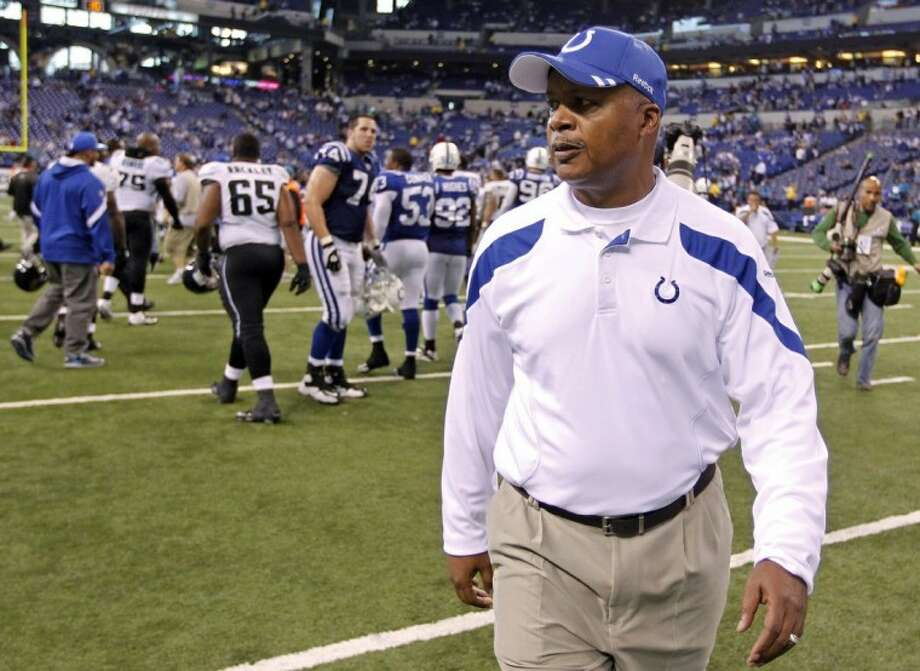 FILE — In this Nov. 13, 2011, file photo, Indianapolis Colts head coach Jim Caldwell walks off the field after the Jacksonville Jaguars defeated the Cots 17-3 in an NFL football game in Indianapolis. The Colts fired Caldwell on Tuesday. Caldwell just finished his third and worst season as head coach of the Colts, who stumbled to a 2-14 finish without injured quarterback Peyton Manning. Photo: Michael Conroy