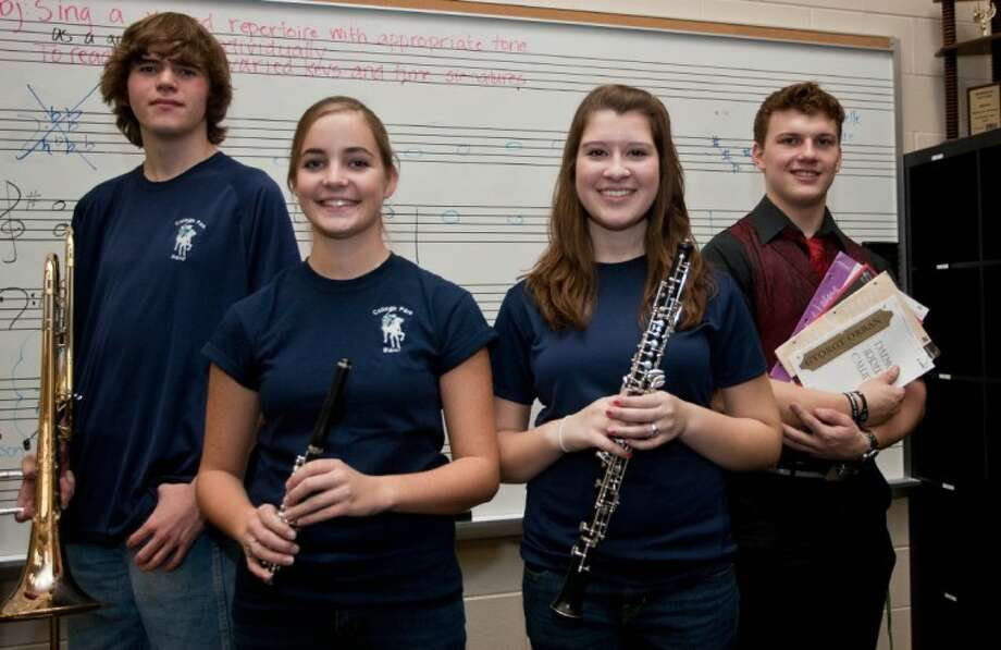 Five musicians from The Woodlands College Park High School made the All-State Band and Choir. They include Stephanie Barrick, freshman, 5A All-State Band, oboe; Christopher Grijalva, senior, 5A All-State Band, tenor trombone; Molly Halpin, junior, 5A All-State Band, piccolo; Sean Smith, 5A All-State Band, contra-bass clarinet; and Douglas Gibbs, senior, All-State Men's Choir, Bass 2. Not pictured is Smith.