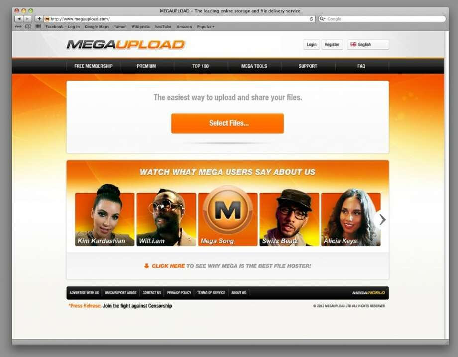 This undated image obtained by The Associated Press shows the homepage of the website Megaupload.com. Federal prosecutors in Virginia have shut down one of the world's largest file-sharing sites, Megaupload.com, and charged its founder and others with violating piracy laws. Photo: ASSOCIATED PRESS