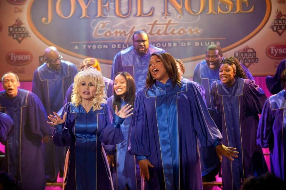 """In this film image released by Warner Bros., Dolly Parton, foreground from left, Keke Palmer and Queen Latifah are shown in a scene from """"Joyful Noise."""" Photo: Van Redin"""