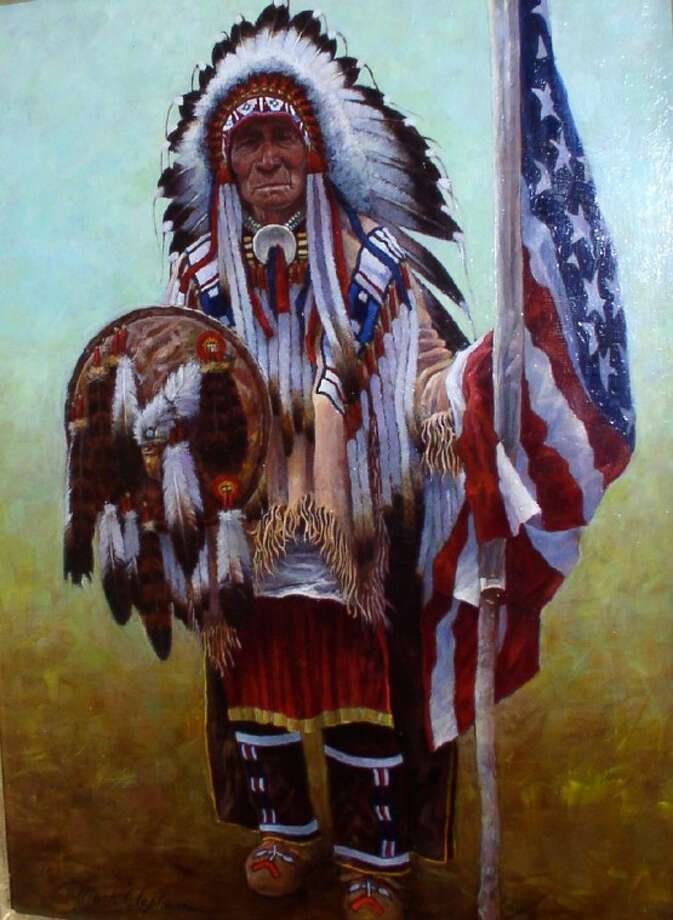 """Pictured is a painting by Mark Clapham (private collection) called """"Crow Chief Plenty Coups."""" It refers to Nov. 11, 1932, when the Crow Chief was invited to represent all Native Americans at the dedication of the then titled, """"Tomb of the Unknown Soldier."""" At the time of the dedication, the granite tomb paid tribute to veterans of World War I."""