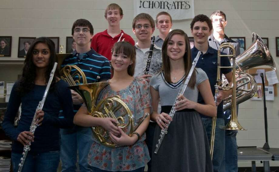 The Woodlands High School had 17 students make the All-State Band and Choir, including the pictured band students: Anthony Dapoz, junior, clarinet; Sami Eudy, senior, flute; Alyx Henderson, sophomore, French horn; Scott Leger, junior, French horn; Niki Patel, sophomore, flute; Aaron Ramirez, senior, trombone; Dawson Riggs, sophomore, percussion; Paul Torrisi, senior, cornet/trumpet; and James Zimmermann, junior, tuba.