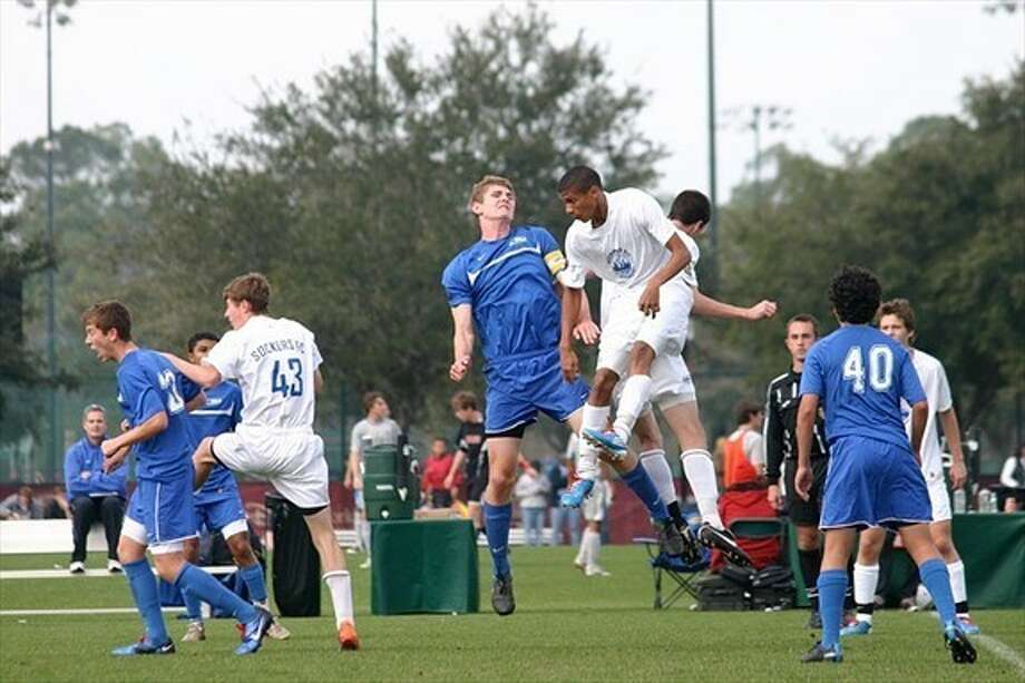 Cameron Niccum, center left, of the U16 Texas Rush USSF Academy Team is one of the players looking to have a solid performance in front of college coaches at this weekend's Texas College Winter Showcase.