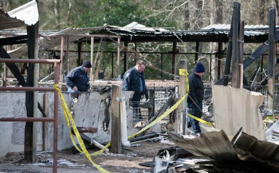 Investigators examine the scene of a fire Feb. 1 at the Conroe Independent School District agriculture barn on Pruitt Road in South Montgomery County. Lost in the blaze were 17 swine being utilized for Future Farmers of America projects at The Woodlands and College Park high schools.
