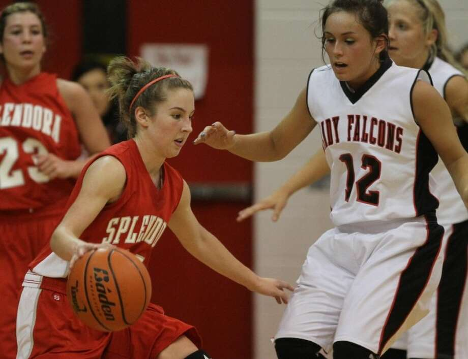 Splendora's Hannah Hathcock, left, recently was named the District 22-3A Most Valuable Player.