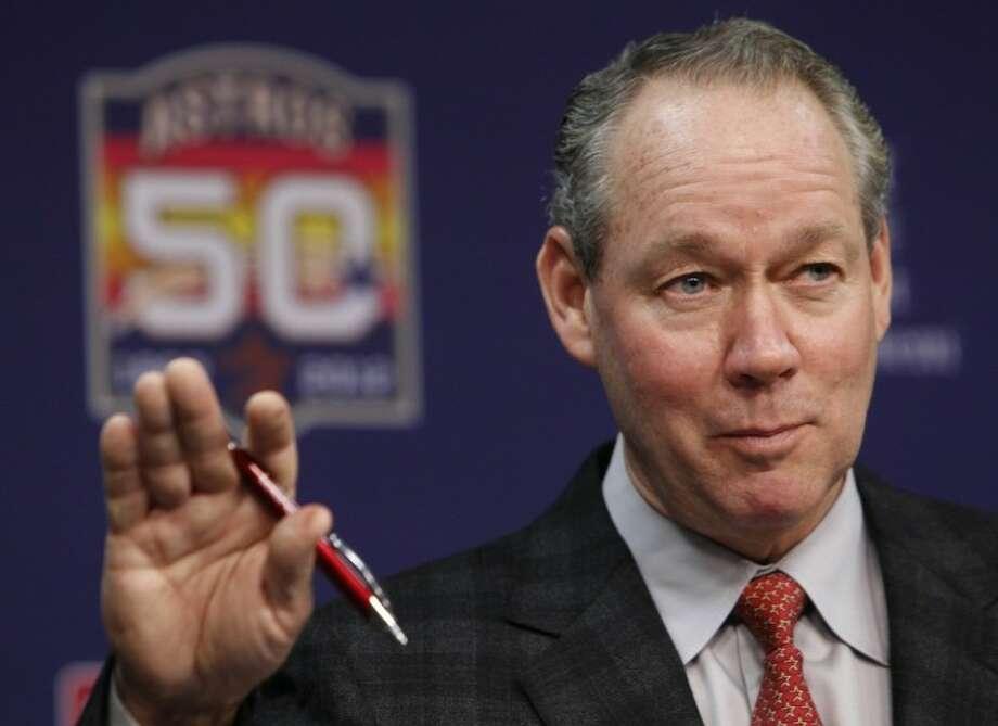 Houston Astros owner Jim Crane announces fan initiatives for the 2012 baseball season, at Minute Maid Park on Monday in Houston. Crane is also considering changing the name of the franchise as well as its uniforms. Crane said Monday the team will not be changing its name. Photo: Mayra Beltran