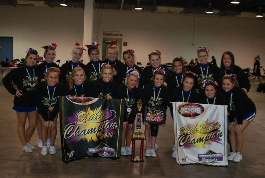 """Congratulations to the Oak Ridge High School Competition Cheer Team, which placed first and received """"High Point"""" recently at the American Cheer Power Wild West State Champions. The team will travel to Florida to represent ORHS at the national level."""