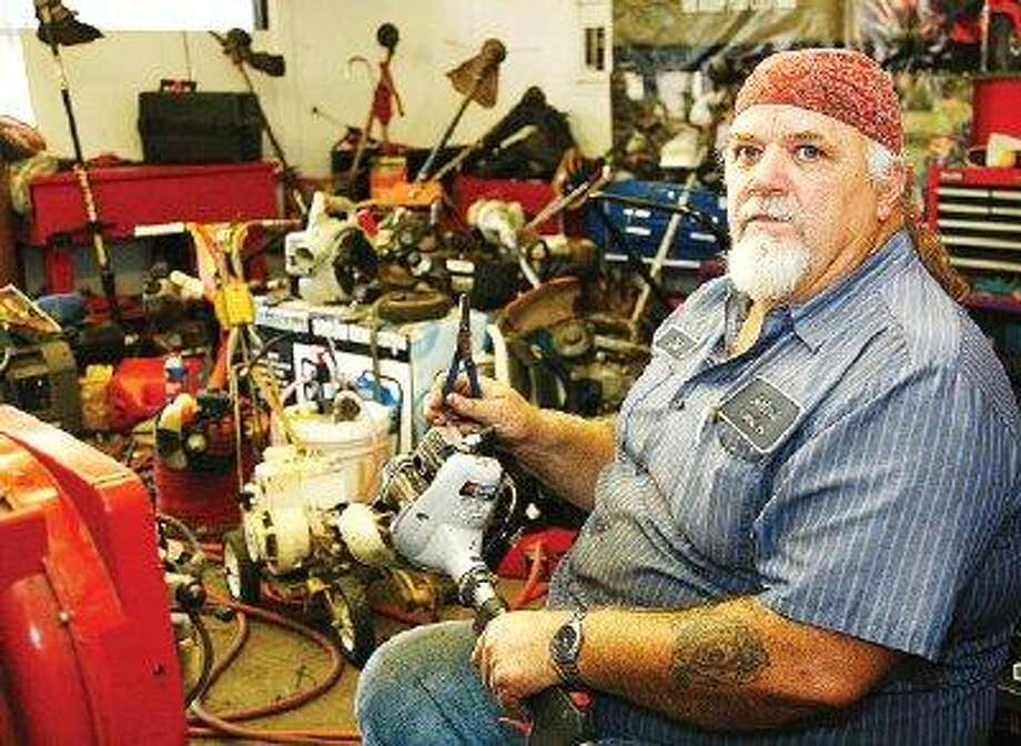 Del Glaze, an expert small-engine mechanic at Montgomery Power Equipment, enjoys the challenge of diagnosing and repairing mowers, blowers, Weed Eaters® and other self-powered tools common to most area households.