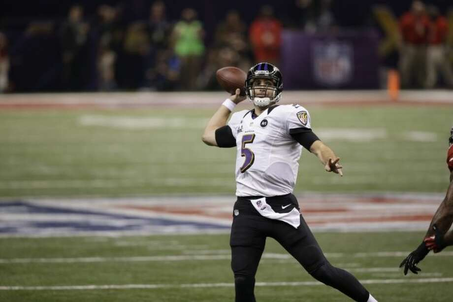 Baltimore Ravens quarterback Joe Flacco threw three touchdown passes in the first half of the Super Bowl and was named the game's Most Valuable Player. Photo: Elise Amendola