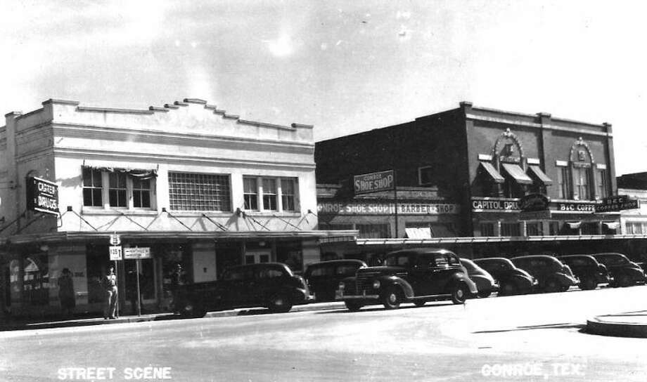 Carter Drug and Capitol Drug stores were in close proximity in the 1940s on the downtown Conroe square.