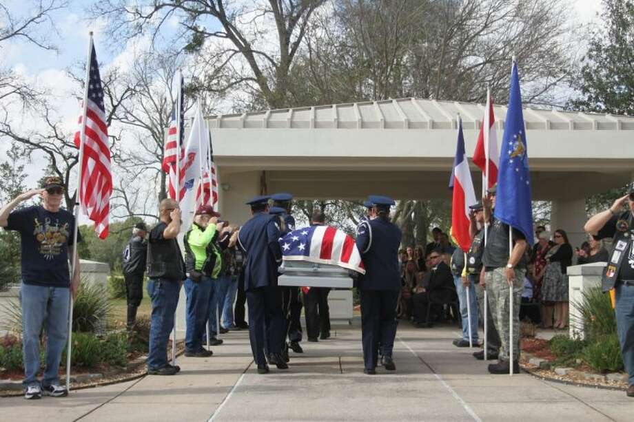 Member s of the Air Force Honor Guard carry the casket of William Sherman Weeks during his internment ceremony at Houston National Cemetery on Tuesday afternoon. Weeks, a resident of Shenandoah for over 35 years, served in the Armed Forces for over 30 years. Weeks retired from the US Armed Forces in 1974 as Chief Master Sergeant of the US Air Force. He served in World War II, the Korean War and two tours in Vietnam.