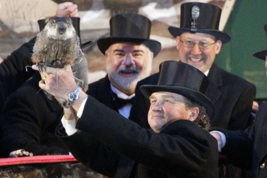 Groundhog Club handler John Griffiths holds Punxsutawney Phil, the weather prognosticating groundhog, during the 126th celebration of Groundhog Day on Gobbler's Knob in Punxsutawney, Pa. Thursday. Phil saw his shadow, forecasting six more weeks of winter weather. Photo: Gene J. Puskar