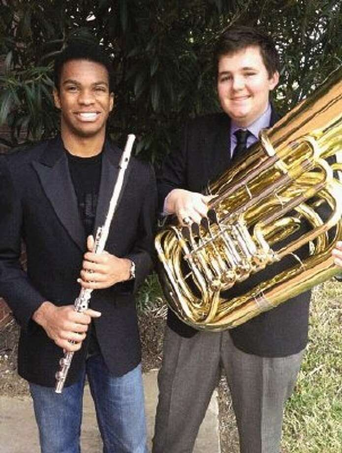 Montgomery High School band and jazz band members Adam Sadberry, left, and Colin Corson will perform with the Texas All-State 4A Band at the Henry B. Gonzalez Convention Center in San Antonio Feb. 16.
