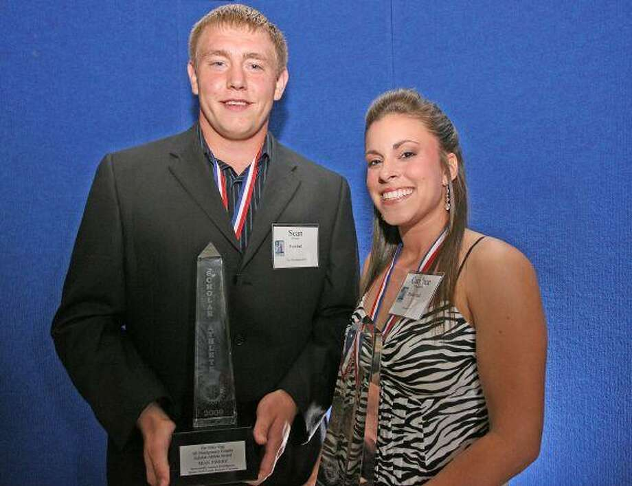 The Woodlands High School's Sean Finney (left) and Conroe High's Candace Virgadamo were named the overall winners at the Rotary Club of Lake Conroe's Fourth Annual Mike Ogg All-Montgomery County Scholar-Athlete Awards Banquet Wednesday. / The Courier