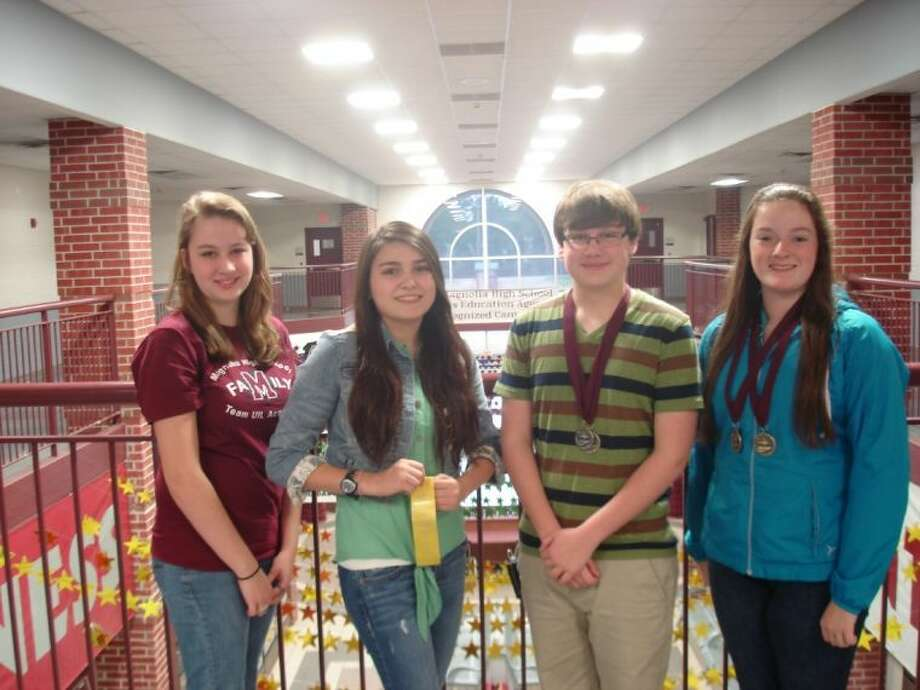 Pictured are Magnolia High School academic competitors Mishayla Smith, Laila Espinoza, Blake Hale and Bethany Mandrell, who earned honors at the sixth annual UIL Academic Team invitational meet Feb. 2.