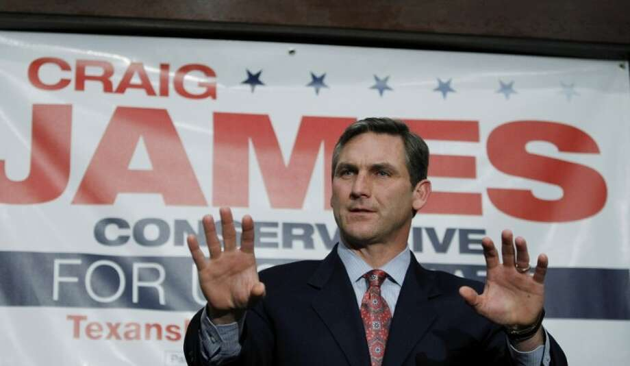 In this Jan 12 photo, former ESPN commentator Craig James is seen announcing his candidacy for U.S. Senate seat in Austin. James wants to talk about foreign and domestic policy, yet he can't avoid questions or comments about a pair of high-profile college scandals, one when he was 25 years old and another from 2009 that has him tangled in lawsuits that threaten to swamp his campaign for the U.S. Senate in the Republican primary. Photo: Eric Gay